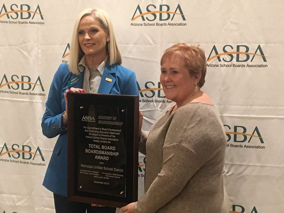 Maricopa Unified School District 2019-2020 Governing Board Earns ASBA's Total Boardsmanship Award