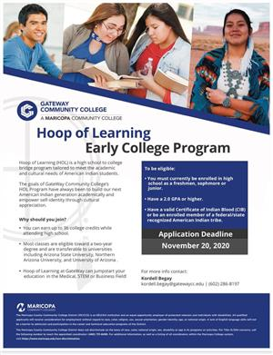 Hoop of Learning Early College Program flyer